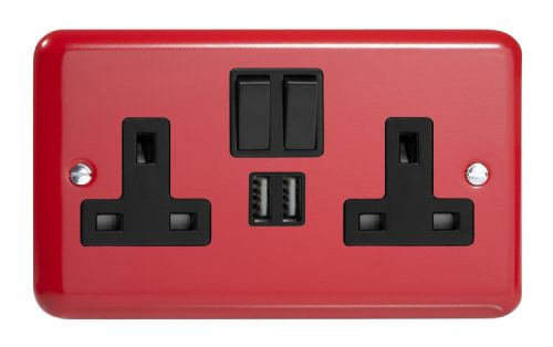 Varilight XY5U2SB.PR Lily Primary Pillar Box Red 2 Gang Double 13A Switched Plug Socket 2.1A USB